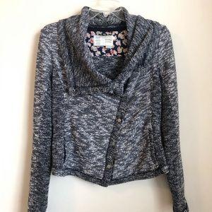 Anthropologie • Blue marled moto Cardigan Sweater